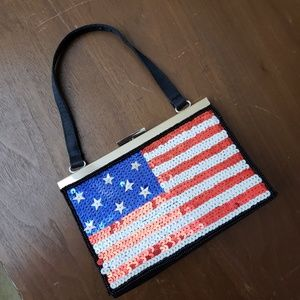 Handbags - Patriotic American Flag Sequined Evening Bag
